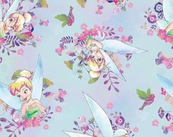 "Disney Fabric - Disney Tinker Bell Fabric Tinkerbell Watercolor Blue Floral 100% cotton fabric by the yard 36""x43"" (SC263)"