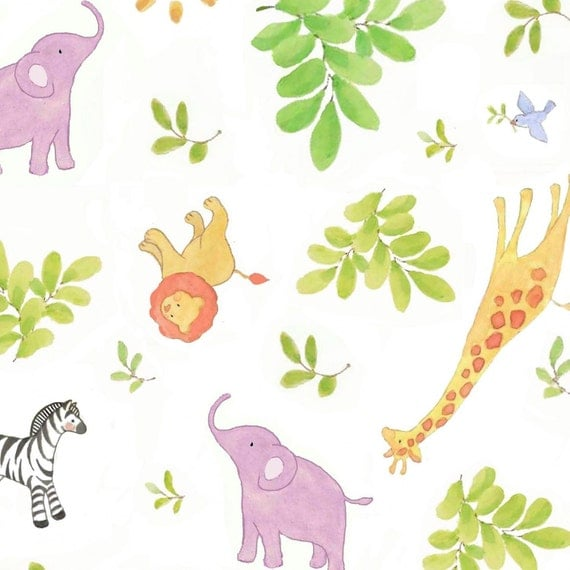 Nursery fabric safari animals baby giraffe elephant zebra for Safari fabric for nursery