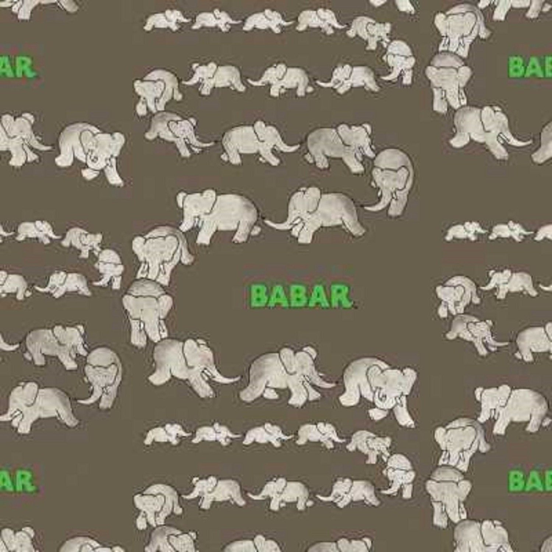 Nursery fabric animal fabric babar traveling elephants for Grey nursery fabric