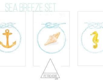 Watercolour Art Print - Sea Breeze Set