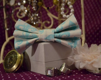 White and Turquoise Fleur de lis Hair bow