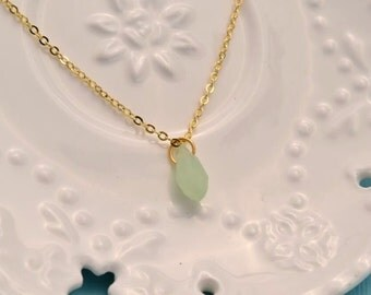 drop necklace mint green faceted beads charm necklace dainty delicate gold necklace bridesmaid necklace