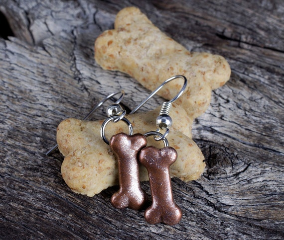 Gift - Dog Bone Jewelry - Dog Lover Earrings - Animal Rescue - Charity ...