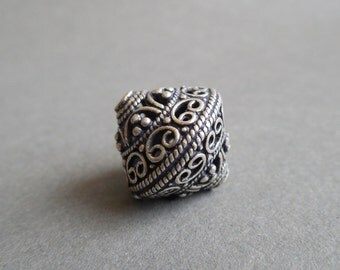 Sterling Silver Bali Style Bicone Focal Bead - 17mm