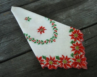 Christmas Hankie, Poinsettia Hankie, vintage handkerchief, red and white Handkerchief