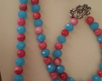 Blue and pink beaded set