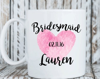 Bridesmaid mug personalized, Gift for bridesmaid, Bridesmaid proposal coffee cup, Bridal party gift