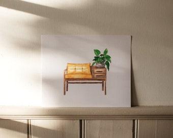 Bench Seat Watercolor Art Print