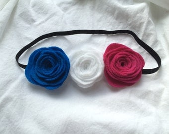 Pink White and Blue Flower Crown