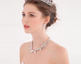 Handmade Rhinestone Pearl Castle Bridal Wedding Crown
