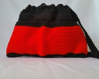Black and Red  Crochet Drawstring Bag