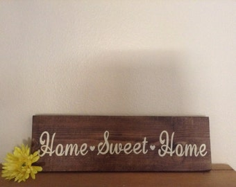 Home Sweet Home Wood Sign, Wood Wall Art, Wood Wall Decor, Wall Decor,  Home Decor, Handpainted Wood Signs , Handpainted Wall Art