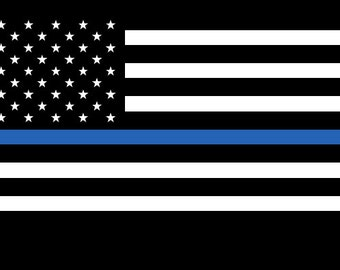 Free Shipping! Thin Blue Line Decal