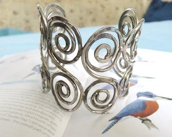 Large Silver Coil Cuff // Silver Coil Bracelet // Silver Statement Bangle Bracelet