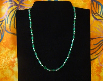 Sale! Green Celestial Crystal and Sterling Silver Necklace
