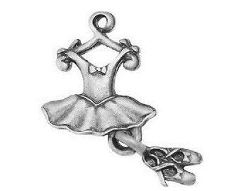 Ballet Charm. Ballet Shoe Charm. Ballet Dress and Shoes Charm Tibetan Silver.  Ballet Charm x 6