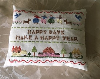 Embroidered Muslin Pillow