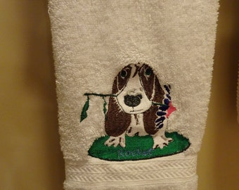 Bassett Hound with Flower Towel