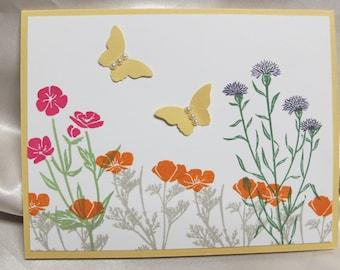 Hand Made Wild Flower Greeting Card