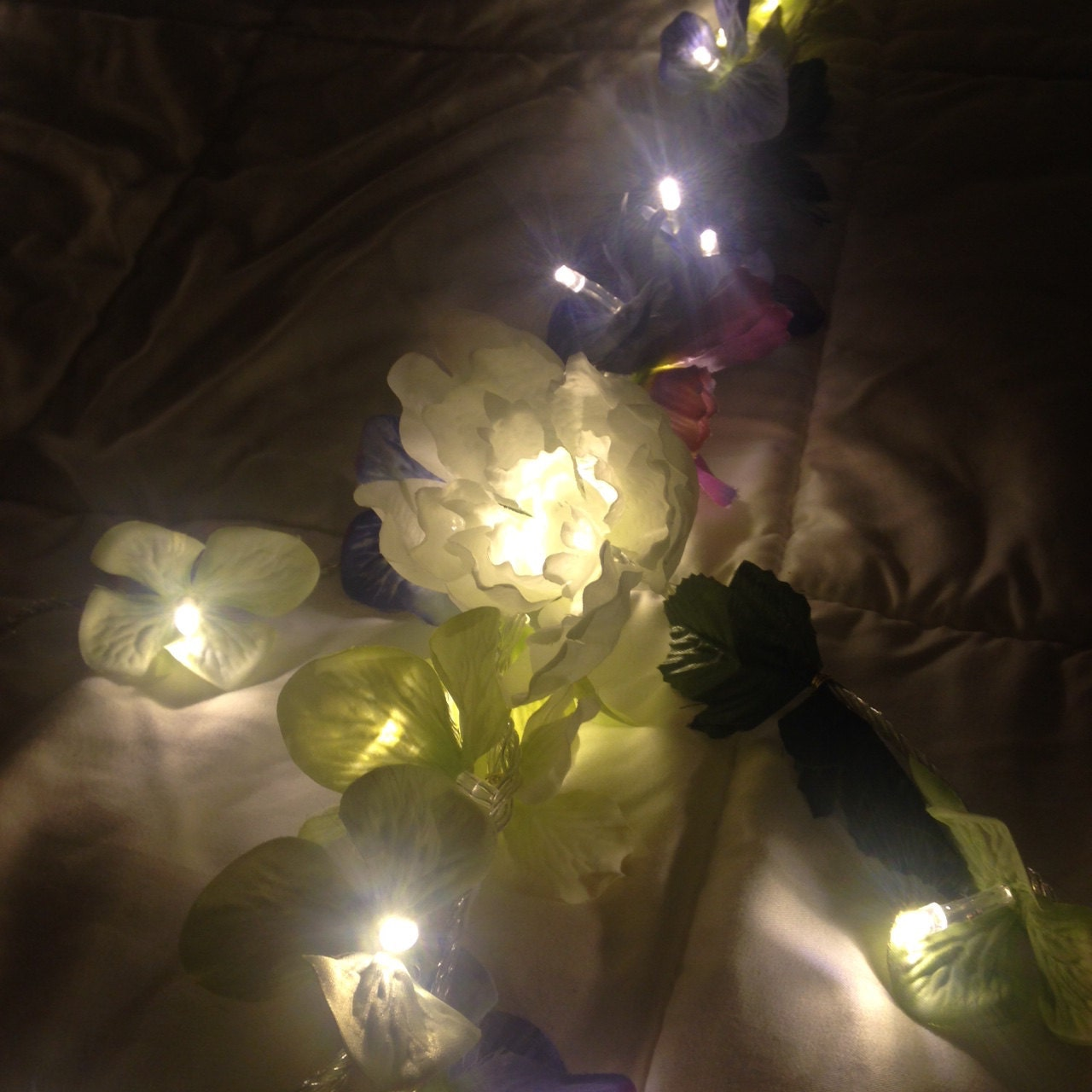 fairy lights bedroom flower garland string by
