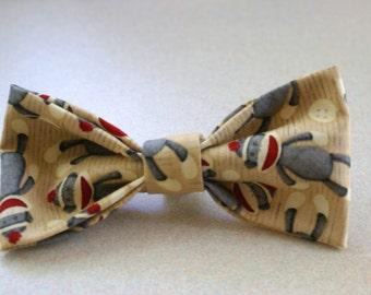 Dog/Cat/Pet Bow Tie- Sock Monkeys Print