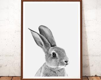 Rabbit Poster, Rabbit Print, Woodlands Nursery Art, Rabbit Black And White, Rabbit Photo, Rabbit Art, Woodland Nursery Decor, Printable Art