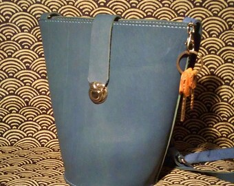Handmade Bucket Bag//Blue//Top Layer Leather