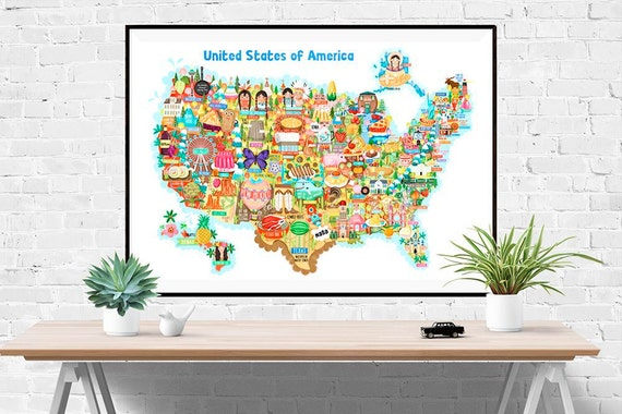 USA Map Illustration (UK shipping inclusive) (15% this January/February, use code JAN17SALE15)
