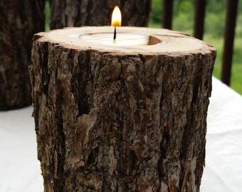 Oak Log Candle Holder