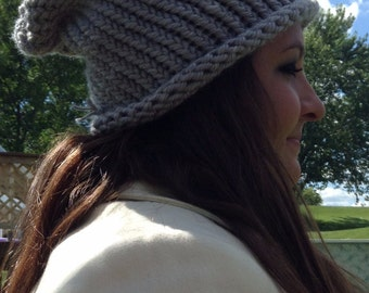warm gray slouchy hat