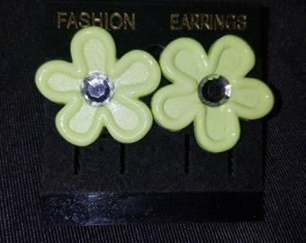Neon green flower earrings