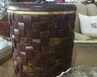 Coconut Shell Ice Bucket with Mother of Pearl Inlay