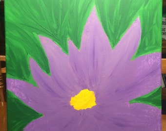 Purple Flower Acrylic Painting on Canvas