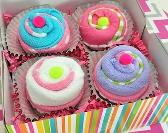 Baby shower Gift, baby girl gift, baby cupcakes gift set, new baby present, baby shower