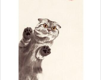 PRINT. Chinese Painting Cat.