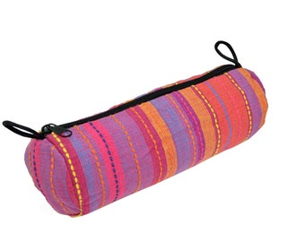 Pink Stripe School Pencil Case Makeup Case