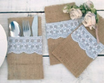 Burlap and Lace Cutlery Pocket