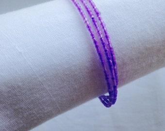 Purple Seaglass Triple Coil Bracelet