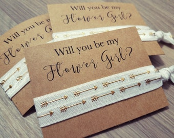 Will You Be My Flower Girl? | Bachelorette Party Favors | Wedding Favors | White Arrow Hair Tie Favors