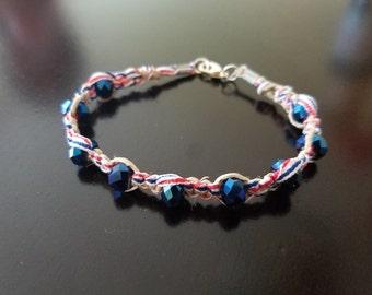Red White Blue Ribbon & Hemp Bracelet