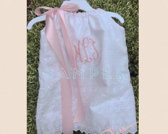 White Eyelet Lace Pillowcase Style Monogrammed Dress