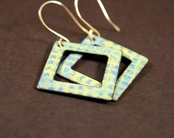 Blue and Yellow Plaid Enamel Earrings