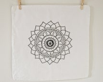 Hand stitched embroidered mandala pillow case