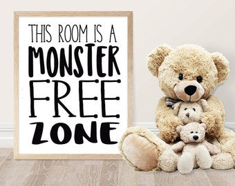 Typography Poster - Monster Free Zone Sign - Kids Room Decor - Monster Quote - Boys Room Decor - Girls Room Decor - Typography Print