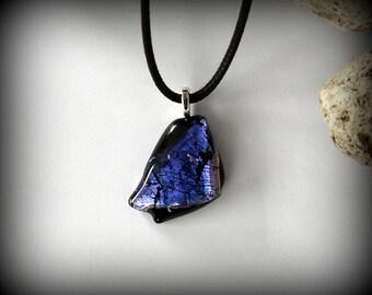 Dichroic Glass pendant/glass jewel/purple premium dichroic/t fuse