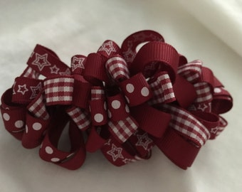 Maroon Ribbon Hairclip