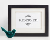 INSTANT DOWNLOAD 5x7 Reserved Sign // Vintage Wedding Reception Sign // Printable 5x7 Reserve Sign // Church pew sign // Printable Reserved