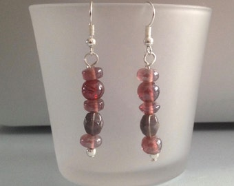 earrings with red glass beads