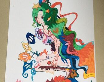 Rainbow anime fantasy girl