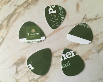 Upcycled Panera Membership Guitar Picks - 5 Packs